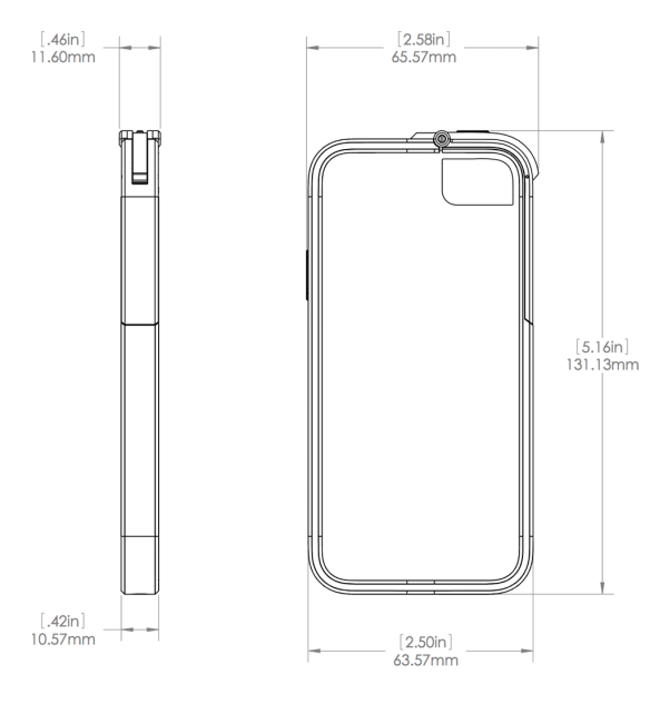 Dimensions for Leverage i5 case for iPhone 5